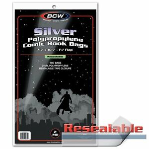 100-BCW-Silver-Age-Comic-RESEALABLE-Bags-Sleeves-7-1-8-x-10-1-2-Poly-Acid-Free
