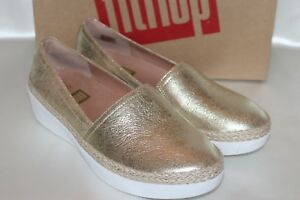 649feb4e0 NEW! FITFLOP Metallic Gold Leather CASA Comfort Sneaker Loafer Shoes ...