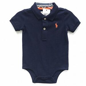 df765ccbb Image is loading NWT-Boys-Ralph-Lauren-Navy-Blue-Romper-Baby-