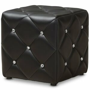 Miraculous Details About Baxton Studio Stacey 14 Square Faux Leather Ottoman In Black Machost Co Dining Chair Design Ideas Machostcouk