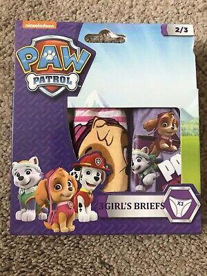 Paw Patrol Girls Official 3 Piece Knicker Brief Underwear Set Age 2-8 Years