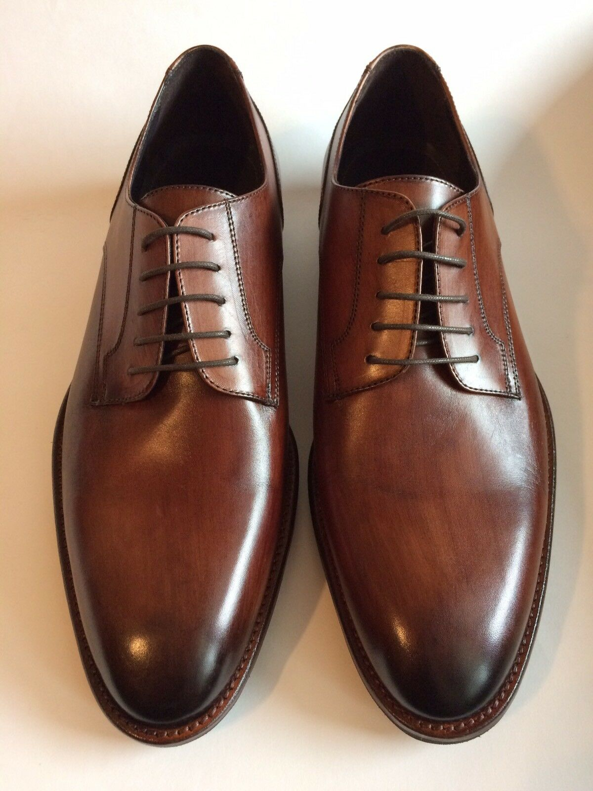 JOHNSTON & MURPHY Made In ITALY Oxfords Dress Shoes Plain Toe Brown   Size 10 D