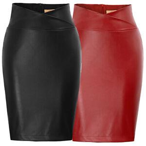 Womens Faux Leather High Waist Pencil Skirt Knee Length PU Black Plus Size S-2XL