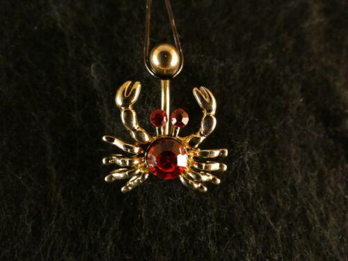 Ombligo piercing cáncer 24 quilates de oro colgante piedras rojo cangrejo animal mar