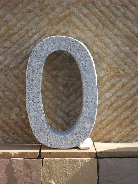0 - Hausnummer aus echtem Granit - 40 cm hoch - Buchstaben und Zahlen aus Granit