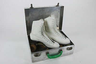 Ware Bros Chicago Roller Skates Wooden Wheels Womens Sz 8 White Hyde Leather Vtg