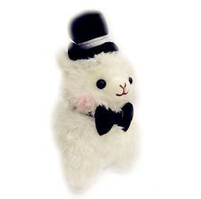 Kawaii Top Hat Alpaca Plush Cute Gentleman Llama White 27cm Tall Fluffy Plushie