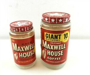 2 Vtg Maxwell House Instant Coffee Jars w/Star Lids 6 Oz, 10 Oz Dominion,OI T178