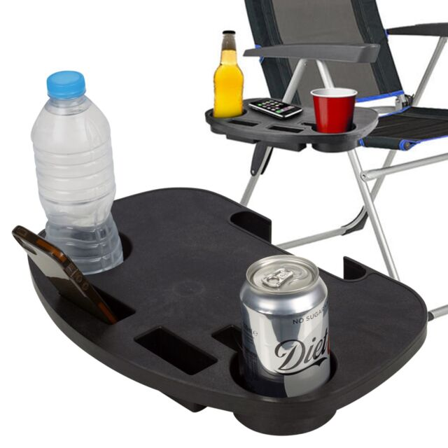 2pcs Camping Chair Side Table Garden Clip On Relax Tray Drinks Holder Fishing