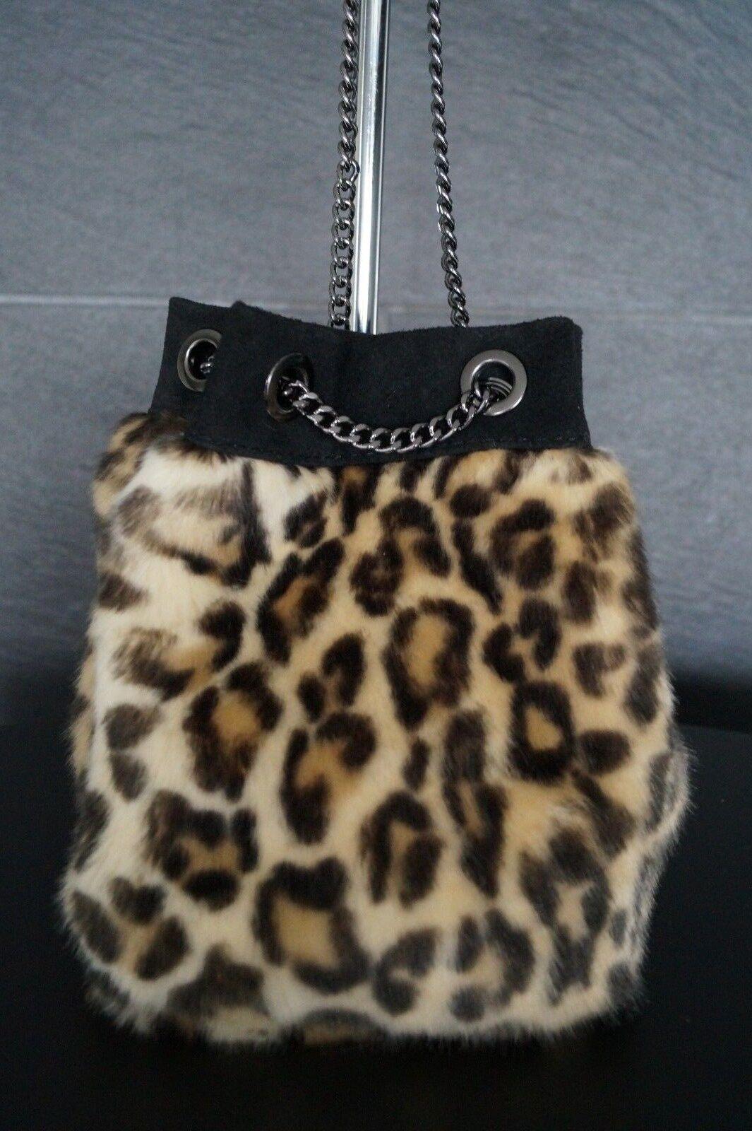 Neu  Tasche Leo Leopard Animal Print Echtleder Beutel Kunstpelz Kette | Abrechnungspreis  | Hochwertige Produkte  | Spielen Sie das Beste