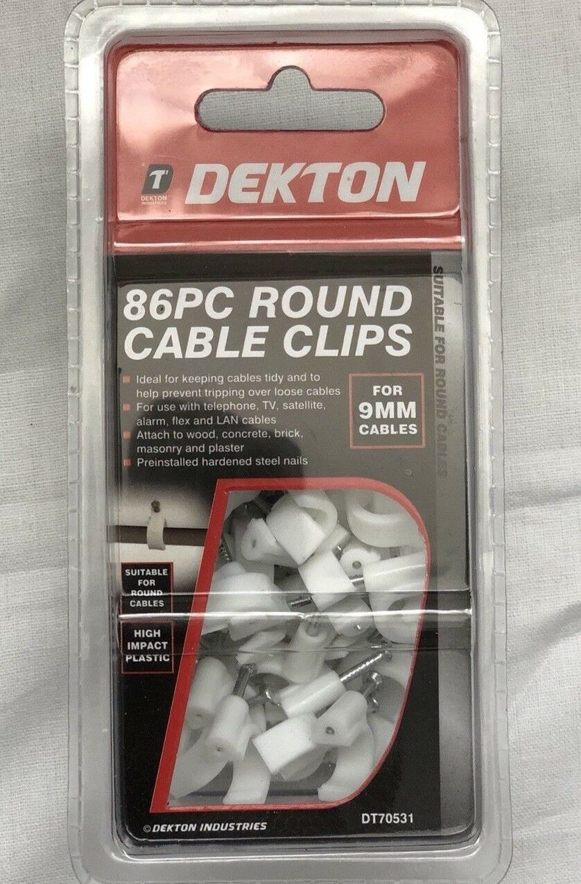 Cable Clips 86x Nails Wire Round Fixing 9mm Plastic Flex Cord TV Preinsulated