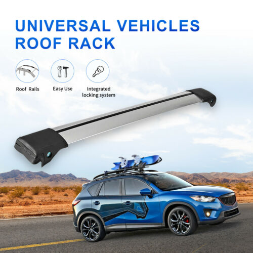 1x 99-105cm Universal Top Roof Rack Cross Bar Luggage Carrier for Raised Rail