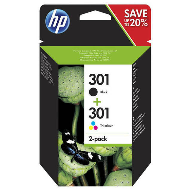 GENUINE OEM HP BLACK & COLOUR HP 301 / HP301 INK CARTRIDGE MULTIPACK (N9J72AE)