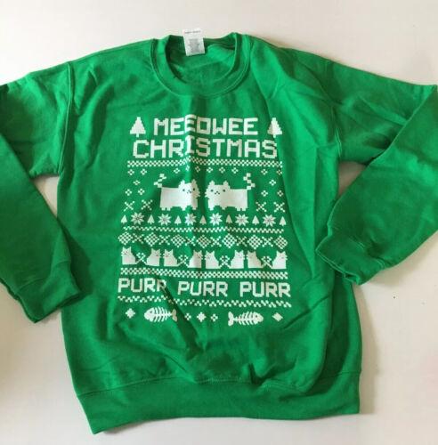 Ugly Christmas Sweater Sweatshirt Kittens Cats Meowee Meowy Xmas sz S Small NWOT