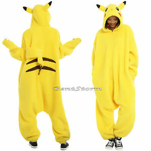Pokemon идти Пикачу для взрослых 1PC костюм пижамы Кигуруми стиль ... 1f6cb5812056e