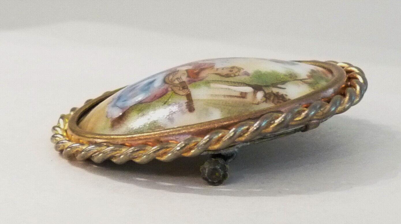 Antique Limoges France Porcelain Brooch, Musical … - image 3