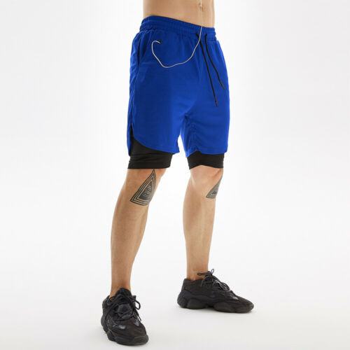 Men/'s 2 in 1 Shorts Workout Running Training Athletic Gym Lightweight Quick Dry