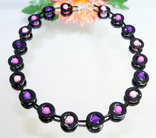 Kette HINREIßEND PERLMUTT schwarzer Donut Perlen lila flieder rosa 353i
