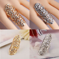 Hot Charm Rhinestone Full Finger Armor Gold Silver Knuckle Hollow Out Ring New