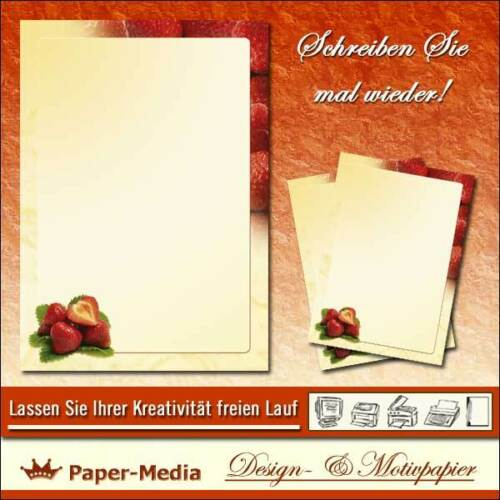 Briefpapier Motiv ERDBEEREN 20 Blatt DIN A4 90g//m²