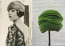 Vintage cloche hat 20's 30's style green velvet hollywood glamour bohemia boho