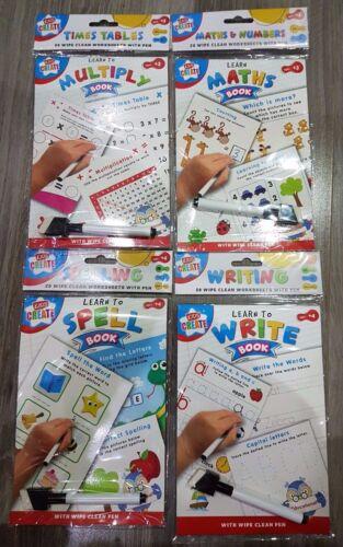 Educational A5 facile à nettoyer Livre /& Gomme Stylo En Savoir enseigner à l/'école Maths Correcteur écriture