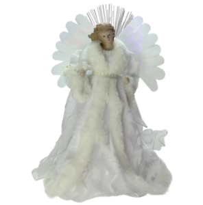 Lighted B O 14 034 Lighted Color Fiber Optic Angel With Gown Christmas Tree Topper
