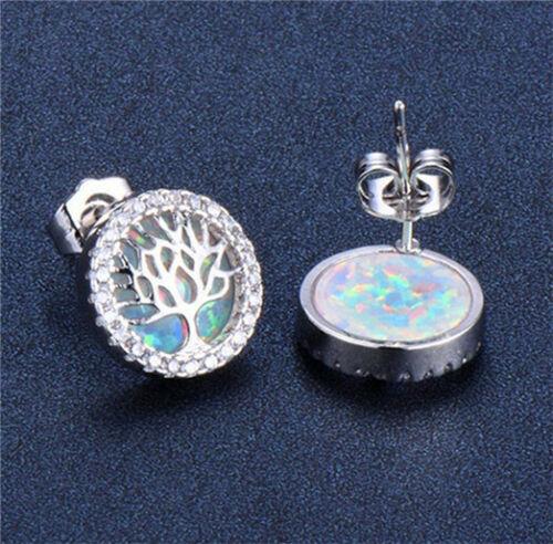 1 Paire Fashion argent 925 bijoux arbre blanc opale de feu Charme Boucle d/'oreille à clous pour NEUF