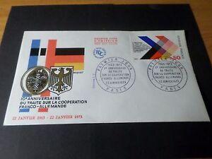 FRANCE-1973-FDC-1-JOUR-COOPERATION-FRANCO-ALLEMANDE-ARMOIRIES-DRAPEAUX-FLAG