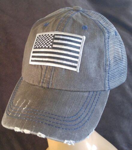Distressed Trucker Hat Dark Gray Soft Mesh Baseball Cap USA Flag Silver Gray