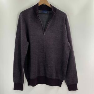 Toscano-Mens-Burgundy-Texture-1-4-Zip-Wool-Blend-Long-Sleeve-Sweater-Size-Large