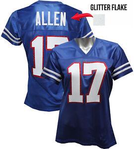 Custom Womens Blinged Football BLUE Jersey,ANY NAME,JOSH ALLEN ...