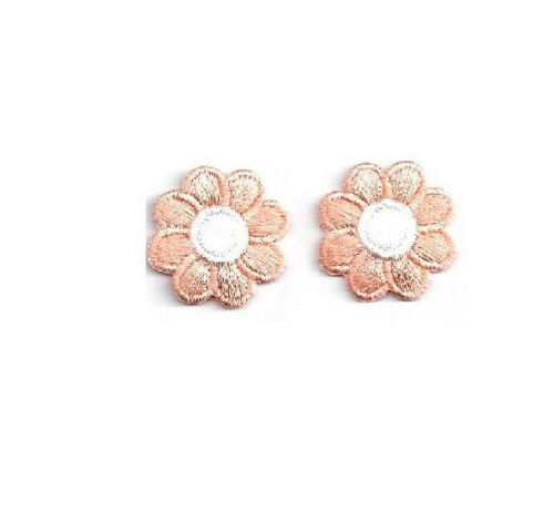"""1/"""" Peach//White Embroidered Daisy Iron On Applique Patch Set of 2"""