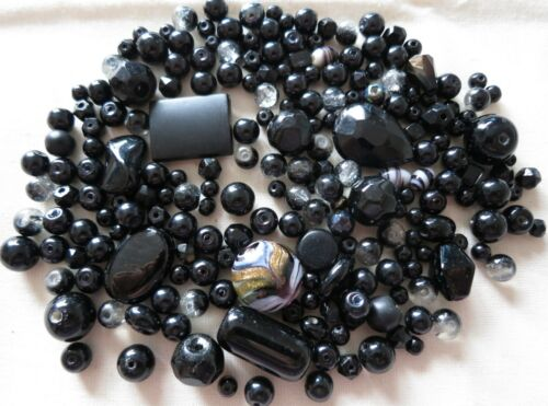 200 x BLACK GLASS BEADS SELECTION MIX CRAFTS JEWELLERY MAKING BEADING