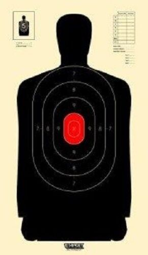 B34 Silhouette Targets Black With Red Center Targets Pack of 100