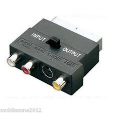 Scart Lead to SVHS 3 x RCA Phono TV Adaptor Adapter Converter Box + Switch - UZ2