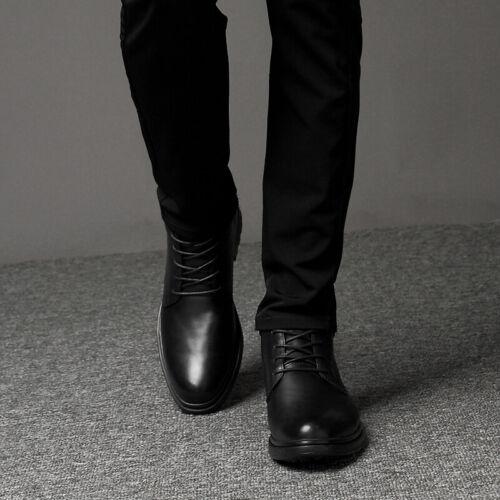 Men/'s Black Ankle Boots Shoes Pumps Fur Inside Warm Business Work Non-slip 47 L