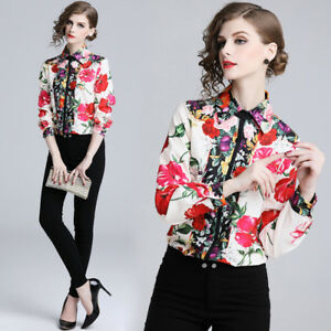 082e012eb 2019 Spring Summer Floral Print Collar OL Casual Long Sleeve Womens ...