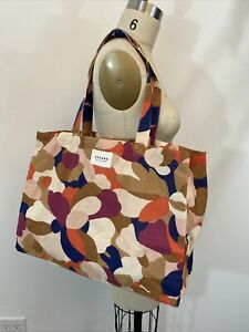 New SEZANE Fait Avec Amour Large Colorful Canvas Tote Market Bag Abstract Print