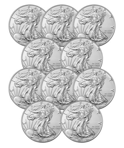 US Mint $1 1 oz American Silver Eagle Coin .999 fine BU Lot of 10-2020