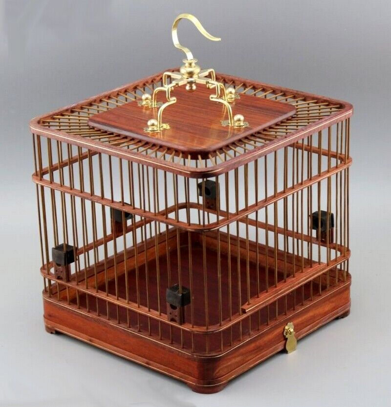 Asian Bird Cage Solid Rosewood  nese Wooden Pet Nest Home