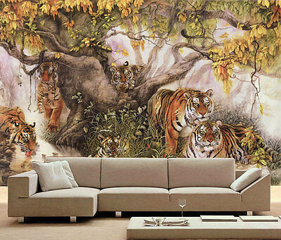 Tiger Family Tree Cute 3D Full Wall Mural Large Print Wallpaper Home Decal Decor