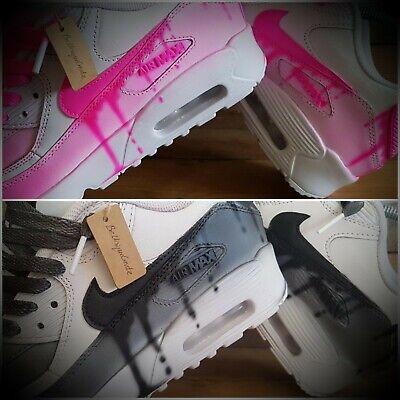 Nike Air Max 90CUSTOM PAINTEDRoseBleuBlancNoirFilleFemmeHommeBaskets | eBay