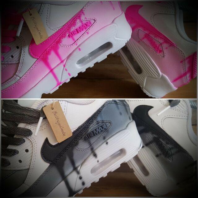 Nike Air Max 90/Custom  Painted/Pink/Blue/White/Black/Girls/Womens/Mens/Trainers
