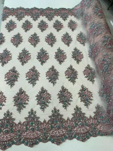 Pink FLORAL Embroider FLOWER Fashion Designer Lace Mesh Beaded Fabric By Yard