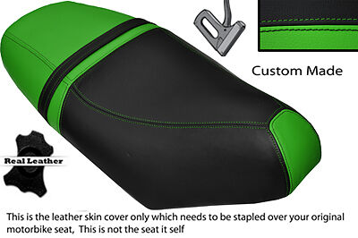 BLACK & GREEN CUSTOM FITS PIAGGIO NRG 50 MC3 DUAL LEATHER SEAT COVER ONLY