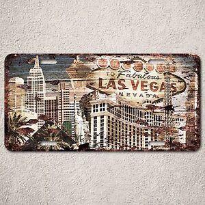 Lp0145 beach wood vintage las vegas sign auto car license for Home decor las vegas