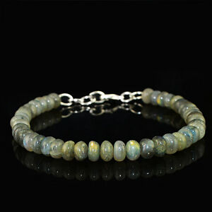 99.30 CTS NATURAL BLUE FLASH LABRADORITE ROUND SHAPE BEADS BRACELET (RS)