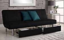 futon sofa bed storage couch convertible full size sleeper microfiber beds sofas futon sofa bed with storage bins black leather couch sleeper      rh   ebay