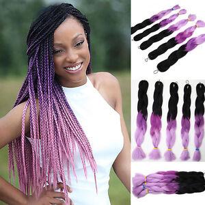 Image Is Loading 1pc 165g Black Purple Kanekalon Jumbo Braid Women
